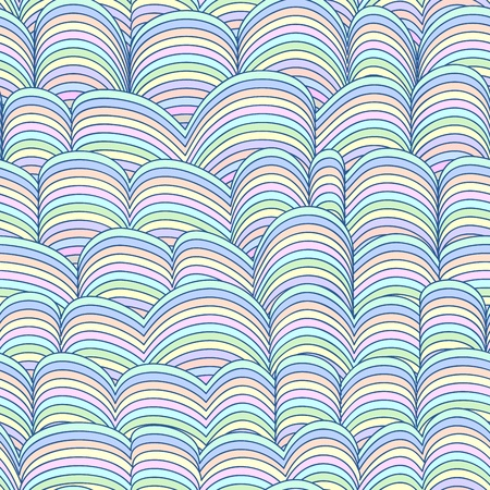 Colorful Seamless Abstract Hand-drawn Pattern, Waves Background  Children or Baby Color Wallpaper, Web Page  Vector