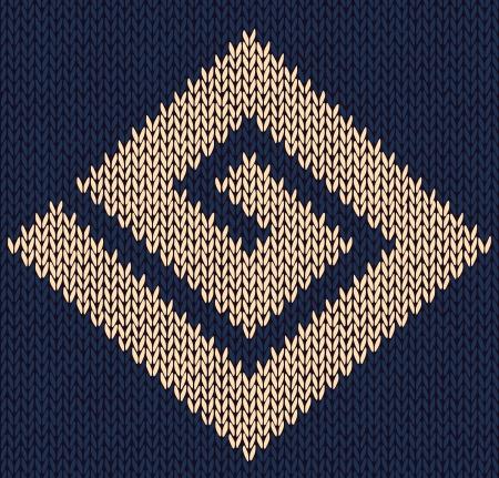 구불 구불 뜨개질을 장식 요소, 니트 스타일 원활한 빈티지 텍스처 스톡 콘텐츠 - 13998648
