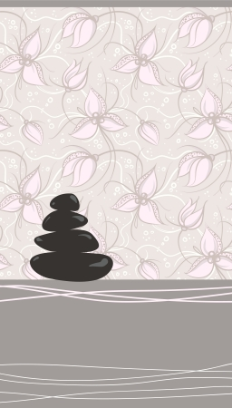 Spa background of black pebble decorated with flowers Vector