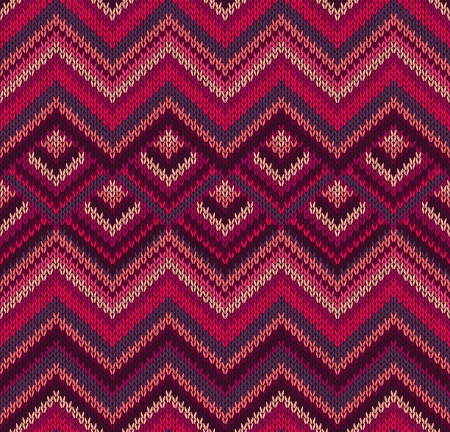 Beautiful Knitted Fabric Pattern, Red Pink Knit Style Seamless Vintage Texture Vector