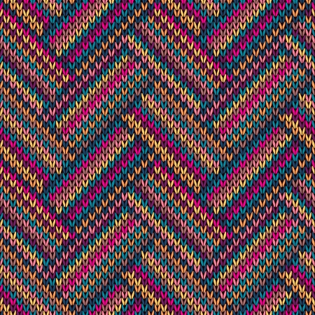 Multicolored Seamless Funny Knitted Pattern Vector