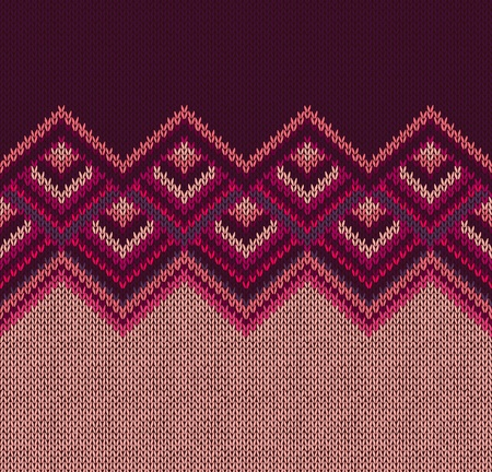 Beautiful Knitted Fabric Pattern, Red Pink Knit Style Seamless Vintage Texture Illustration
