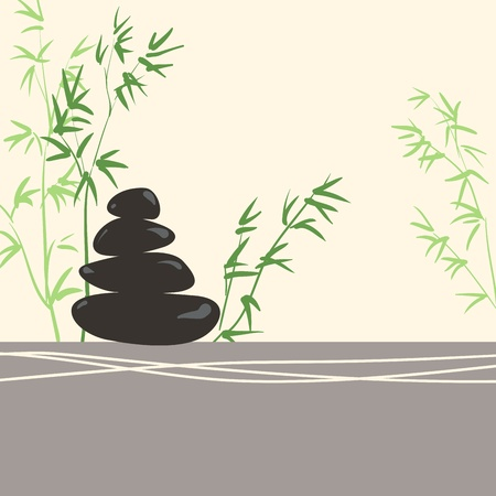massage symbol: Spa Concept Stylized Zen Basalt Stones with Green Bamboo and Leaves