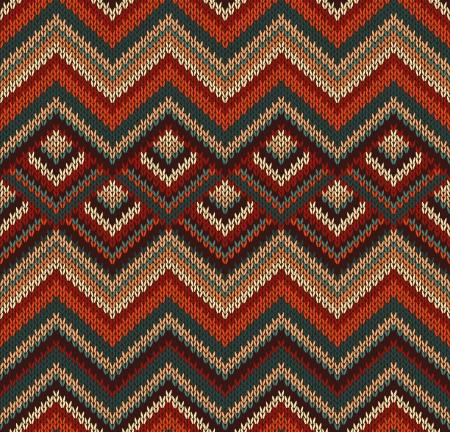bordados: Hermoso Tejidos patrón, rojo, verde, de textura de punto de estilo vintage sin fisuras