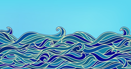Abstract Waves Background, Vector Blue Colorful Hand-drawn Pattern Vector