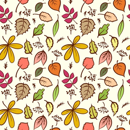 Seamless autumn leaves texture pattern. Vector background