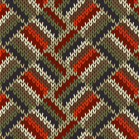 Style Seamless Knitted Pattern. Red Blue Green White Orange Color Illustration from my large Collection of Samples of knitted Fabrics  Vector