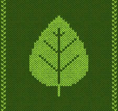 wool texture: Green Leaf Style Knitted Pattern Illustration