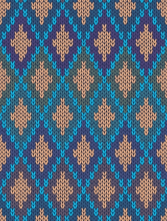 Style Seamless Knitted Pattern.Blue Green Orange Color Illustration from my large Collection of Samples of knitted Fabrics Vector
