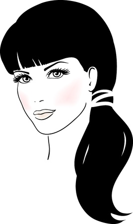 vogue style: Beautiful Cute Girl Face Illustration