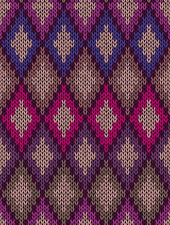 knitwear: Knit woolen seamless jacquard ornament texture. Fabric color tracery background  Illustration