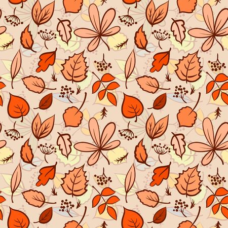 Seamless autumn leaves texture pattern. Vector background  Vector