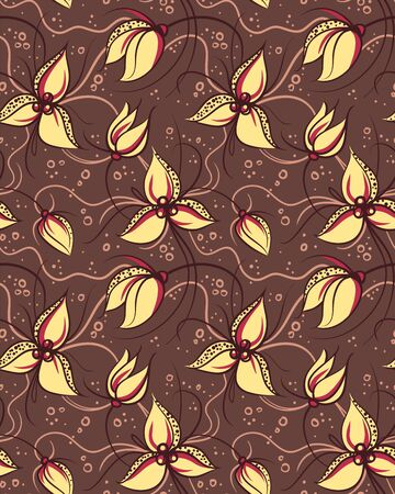 Seamless pattern yellow orchid flowers  Stock Vector - 14509749