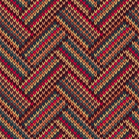 Knit woolen seamless jacquard ornament texture. Fabric color tracery background
