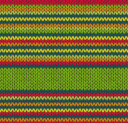Style Seamless Red Green Yellow Color Vector Knitted Pattern  Иллюстрация