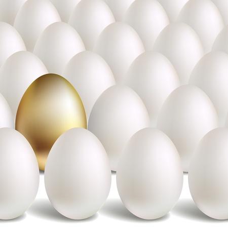 Concepto de oro Huevo. Huevos de oro blanco y única Ilustración de vector