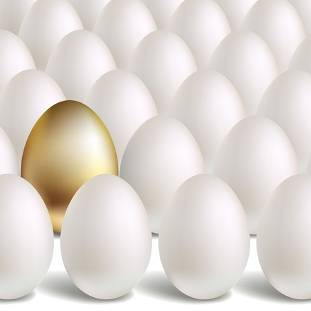 Gold Egg Concept. White and unique golden eggs Vector