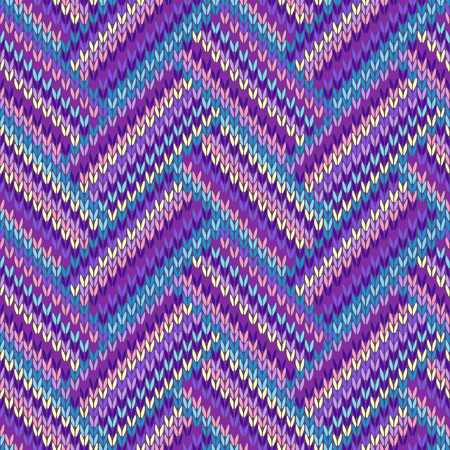 Knit woolen seamless jacquard ornament texture. Fabric color tracery background  Vettoriali