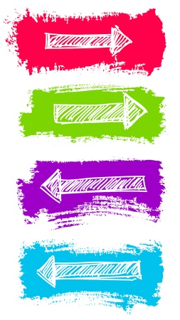 Arrows and Grunge Color Brush Vector