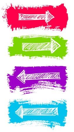 pfeil: Arrows und Grunge Farbe Pinsel Illustration