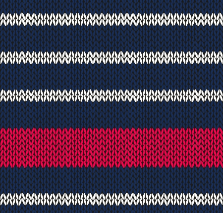 Style Seamless Marine Blue White Red Color Knitted Vector