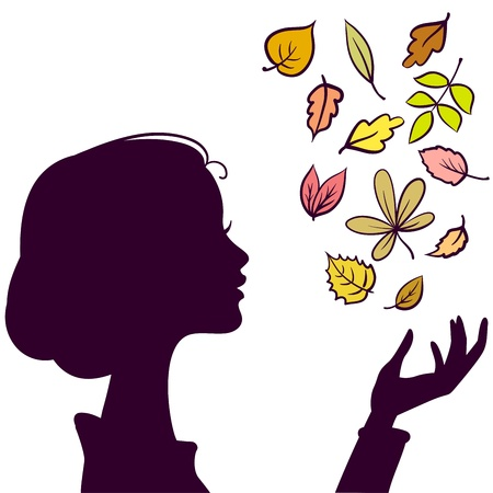 Beautiful Girl Dark Silhouette. Young Woman with Autumn Color Leaf in Hand Vettoriali