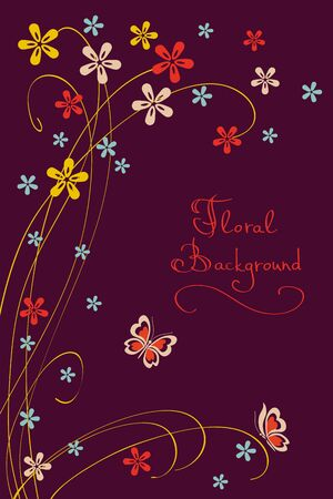 Background with Flowers and Butterflies, Simple Design Vector