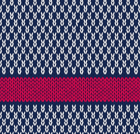 Style Seamless Marine Blue White Red Color Knitted Vector Pattern