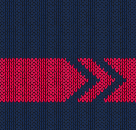 wool texture: Style Seamless Blue with Red Arrow Color Knitted Vector Pattern