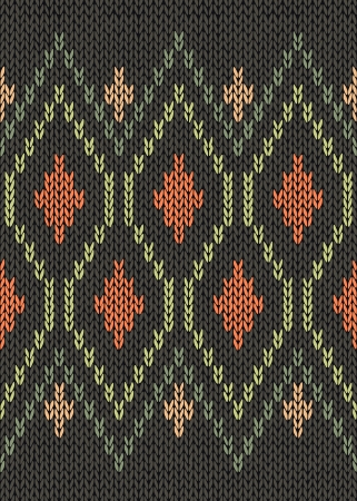 tejidos de punto: Estilo Seamless Verde Gris Beige Oto�o amarillo macho Color Naranja Patr�n de punto Vectores