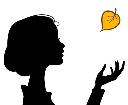 meisje silhouet: Schoonheid Meisje Silhouette met Leaf. Mooie vrouw Vector portrait Stock Illustratie