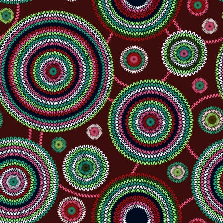 fabric design: Abstract Seamless Ethnic Style Circle Simple Color  Needlework Background, Ornamental Round Geometric Knitted Pattern Illustration