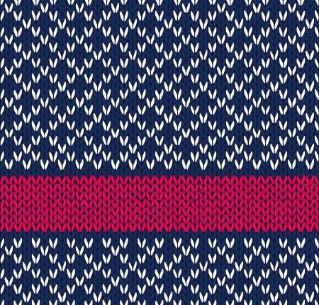 pullover: Stil Nahtlose Blau Wei� Rot Farbe Strickmuster