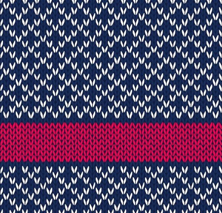 Style Seamless Blue White Red Color Knitted  Pattern Vector