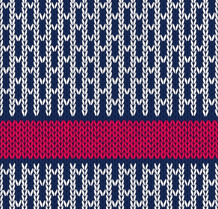 wool texture: Style Seamless Marine Blue White Red Color Knitted Pattern Illustration