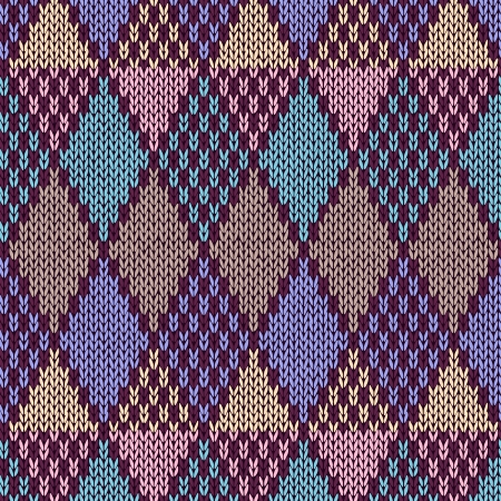 Style Seamless Knitted Pattern.Blue Pink Yellow Color Illustration from my large Collection of Samples of knitted Fabrics Vettoriali
