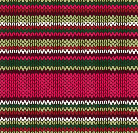 wool fiber: Estilo Patr�n sin costuras. Rojo Rosa Verde Blanco Color Ilustraci�n de mi gran colecci�n de muestras de tejido de punto Vectores
