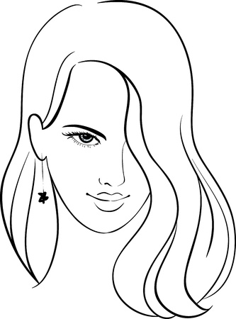 Girl Face with Beautiful Hair, Vector Sketch Illustration