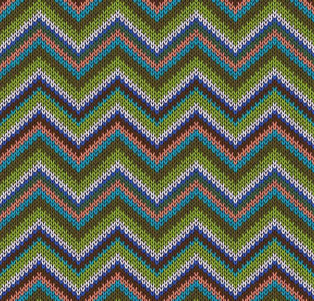 Style Seamless Knitted Pattern. Green Blue Brown White Orange Color Illustration from my large Collection of Samples of knitted Fabrics Vector