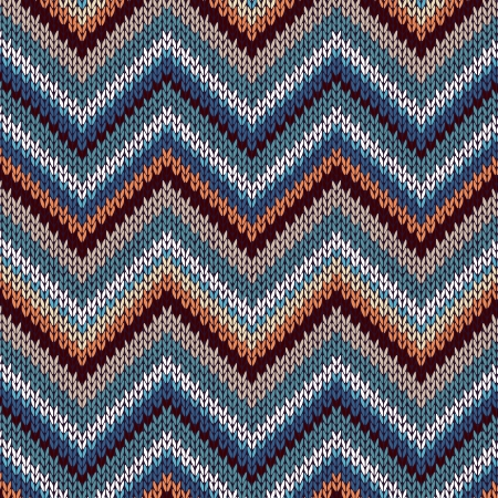 Style Seamless Knitted Pattern. Blue Brown White Orange Color Illustration from my large Collection of Samples of knitted Fabrics Vector