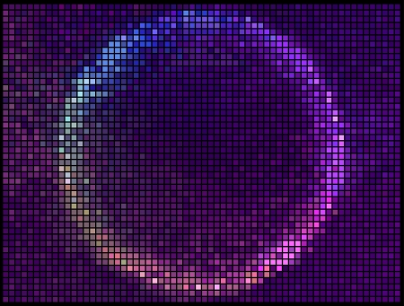 Colorful Round Square Pixel Mosaic Banner.Multicolor Abstract Beautiful Lights Disco Club Background  Vector