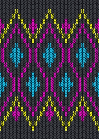 wool texture: Knit Woolen Seamless Jacquard Ornament Texture. Fabric Color Tracery Background  Illustration