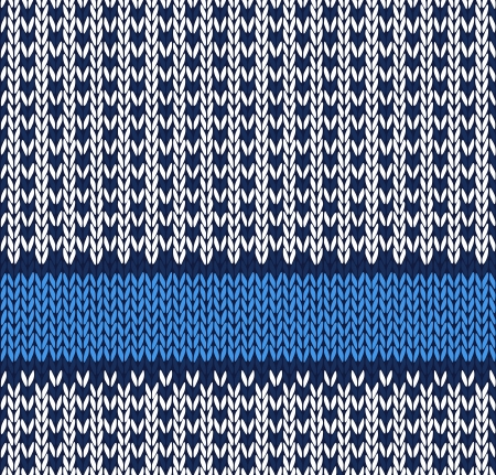 handicrafts: Style Seamless Blue White Color Knitted Vector Pattern Illustration