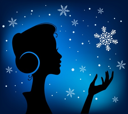 christmas music: Christmas Eve background  Profile Silhouette of Pretty Young Girl Listening to Song Melody in Headphones with Snowflake in her Hand  Image May Be Use as Postcard or Placard Illustration