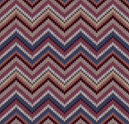 Style Seamless Knitted Pattern. Blue Brown White Yellow Color Illustration from my large Collection of Samples of knitted Fabrics Vector