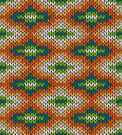 knitted fabrics: Style Seamless Knitted Pattern. Blue Green Orange White Color Illustration from my large Collection of Samples of knitted Fabrics