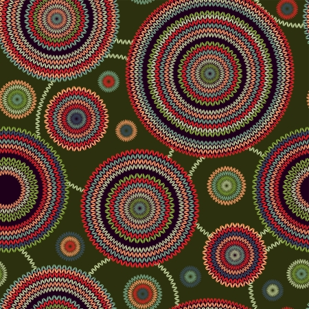 african fabric: Abstract Seamless Ethnic Style Circle Simple Color Vector Needlework Background, Ornamental Round Geometric Knitted Pattern Illustration