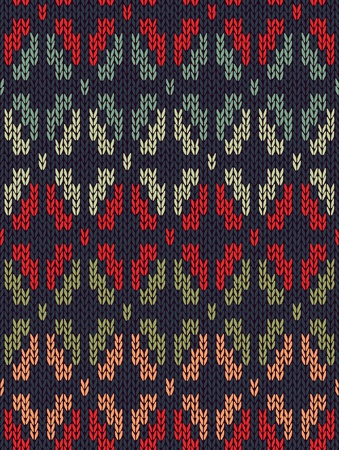 Style Seamless Knitted Pattern. Red Blue Green Orange Color Illustration from my large Collection of Samples of knitted Fabrics  Vector
