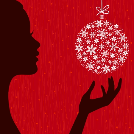 Christmas Eve background. Profile Silhouette of Pretty Young Woman with Snowflake Ball in her Hand. Image May Be Use as Postcard or Placard Stock Vector - 16214836