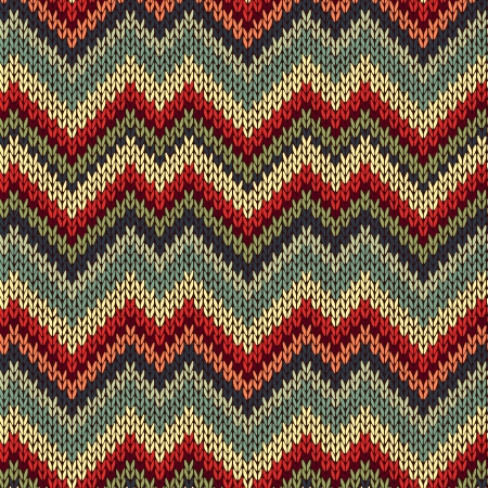 knitted fabrics: Style Seamless Knitted Pattern. Red Blue Brown Yellow Orange Green Color Illustration from my large Collection of Samples of knitted Fabrics